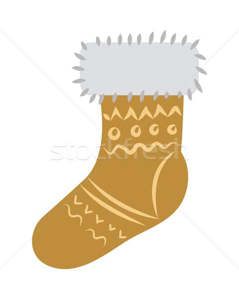 靴下 毛皮 飾り 孤立した 白 光 ストックフォト © robuart