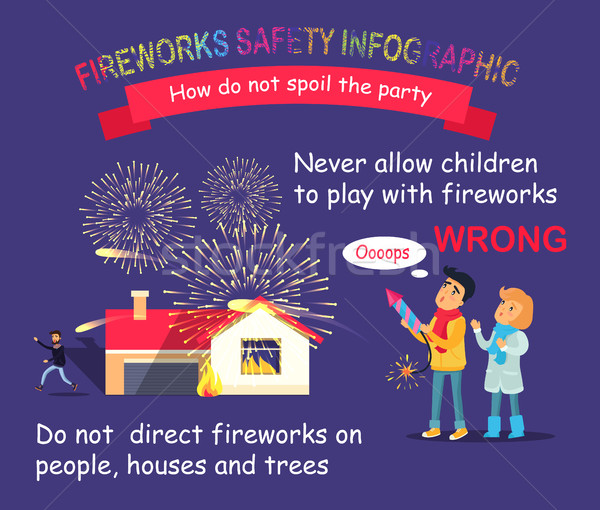 Fireworks Safety Infographic. Children with Rocket Stock photo © robuart