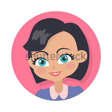 Kadın yüzü duygusal vektör simgesi stil ikon gülen Stok fotoğraf © robuart