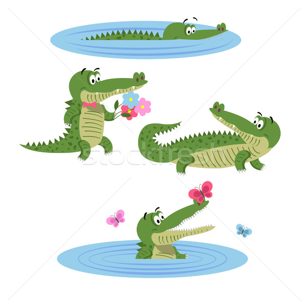 Cartoon crocodiles nature isolé illustration eau Photo stock © robuart