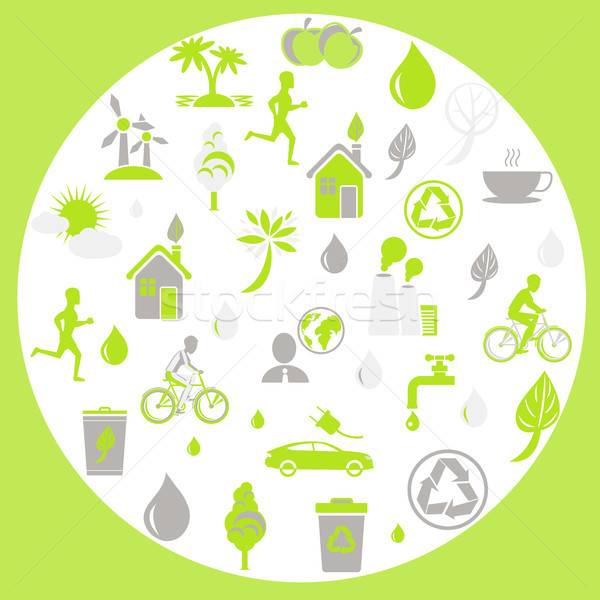 Green Ecology and Earth Protection Themed Signs Stock photo © robuart