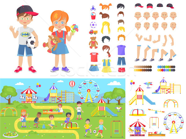Little Children and Summer Playground Constructors Stock photo © robuart