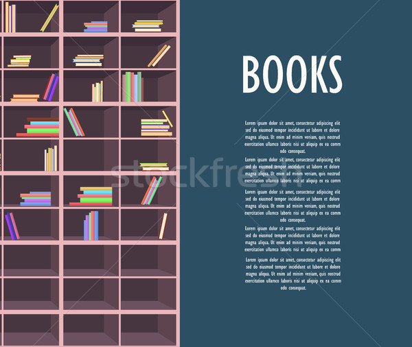 Book Store Promotion Poster with Wooden Bookcase Stock photo © robuart