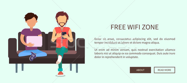 Free Wi-Fi Zone Web Banner with Two Men Sitting Stock photo © robuart