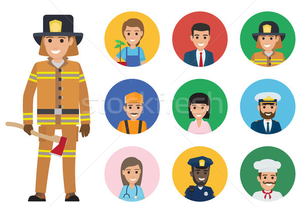 Stock photo: Firefighter and Set of People of Different Jobs