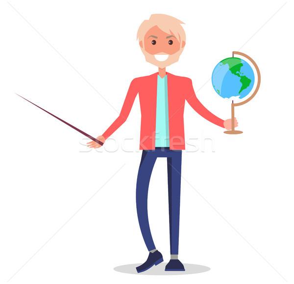 Tutor Holding Globe and Pointer Isolated on White Stock photo © robuart