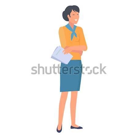 Feliz mulher azul pescoço relatório papel Foto stock © robuart