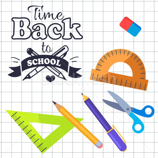 Time Back to School Inscription with Logo Vector Stock photo © robuart