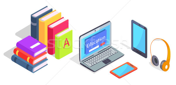 Devices Laptop and Headphones Tablet Pile Of Books Stock photo © robuart