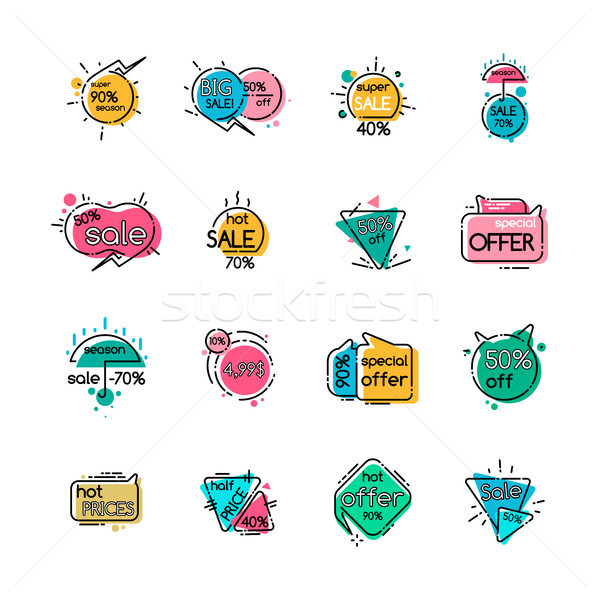 Sale with Special Offer and Hot Prices Icons Set Stock photo © robuart