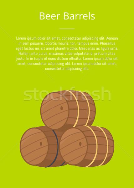 Beer Wooden Barrels Vector Illustration on Green Stock photo © robuart