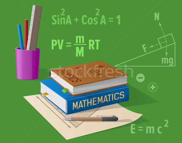 Fysica wiskunde cartoon illustratie geïsoleerd groene Stockfoto © robuart