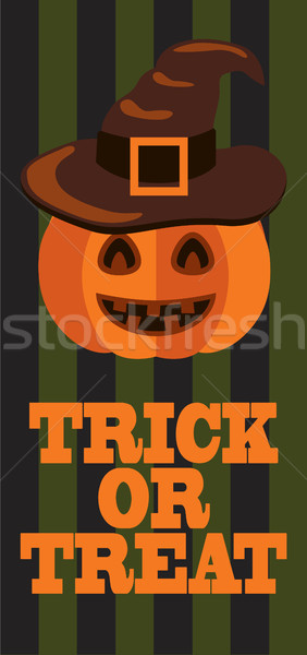 Trick or Treat Sign Halloween Poster Pumpkin Hat Stock photo © robuart