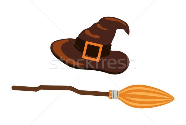 Kapelusz czarownicy ikona odizolowany biały brązowy wysoki Zdjęcia stock © robuart