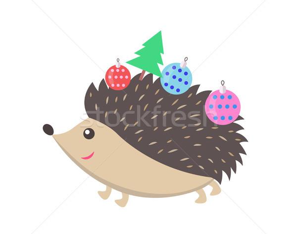 мало счастливым еж икона небольшой ель Сток-фото © robuart