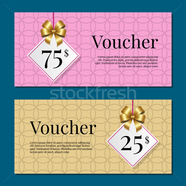 Voucher on 25 -75 Set of Posters Gold Tags Label Stock photo © robuart