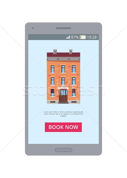Könyv most mobil alkalmazás kép épület Stock fotó © robuart