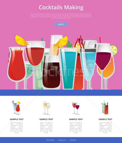 Cocktails manual teia página projeto Foto stock © robuart