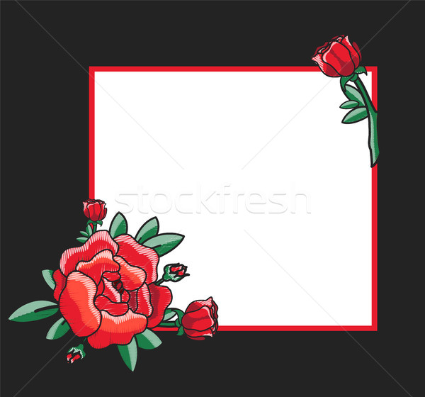 Photo Frame Design with Drawn Red Roses Vector Stock photo © robuart