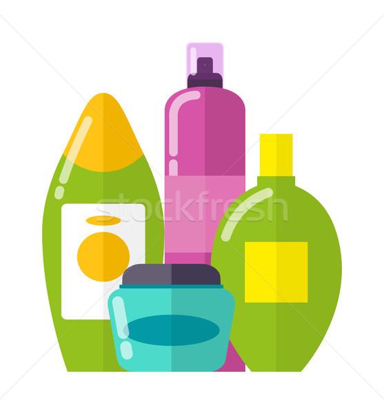 Stok fotoğraf: Ayarlamak · renkli · bakım · ürünleri · mavi · küçük · şişe