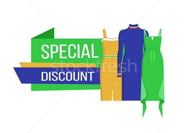 Különleges árengedmény ruházat gyűjtemény nők ruhák Stock fotó © robuart