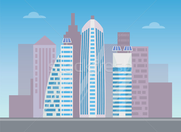 Three White Modern Buildings, Colorful Banner Stock photo © robuart