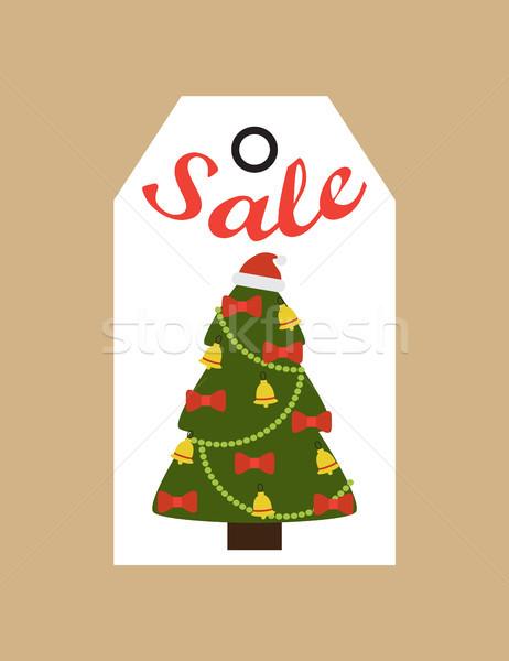 Vásár promo címke örökzöld fa díszített Stock fotó © robuart