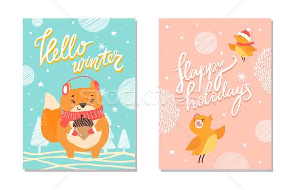 Hello Winter and Happy Holiday Vector Illustration Stock photo © robuart