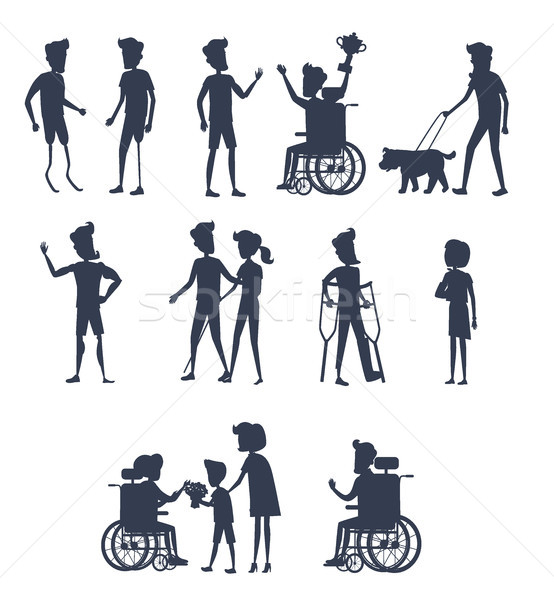 Stock photo: Silhouettes of Disable Humans on Wheelchairs