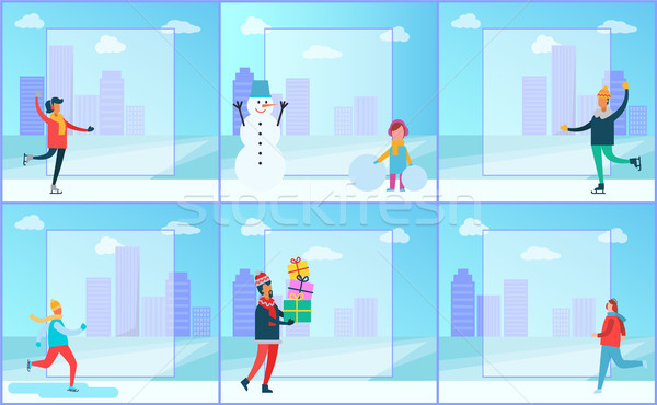Skaters and Cityscape Set Vector Illustration Stock photo © robuart