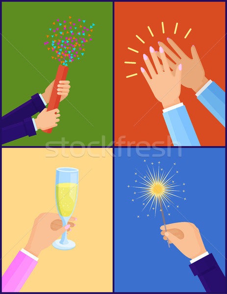 Peoples Hands with Objects Vector Illustration Stock photo © robuart