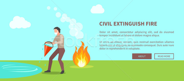 Civil Extinguish Fire Poster with Text Vector Stock photo © robuart