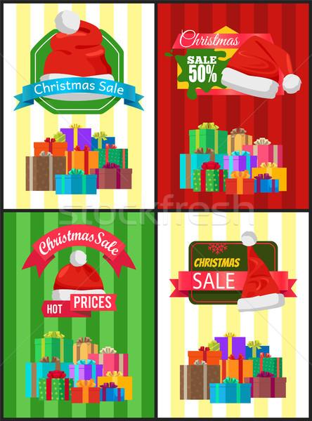 Duży zestaw christmas sprzedaży reklama promo Zdjęcia stock © robuart