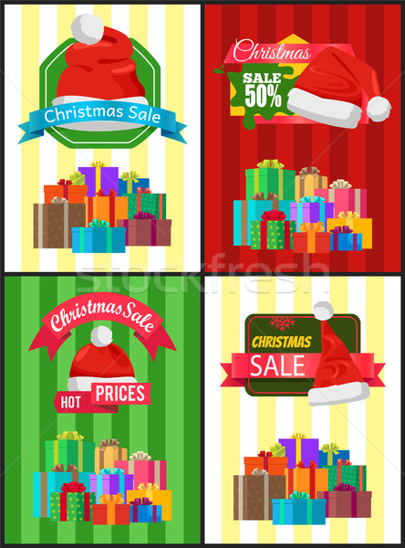 Groot ingesteld christmas verkoop advertentie promo Stockfoto © robuart