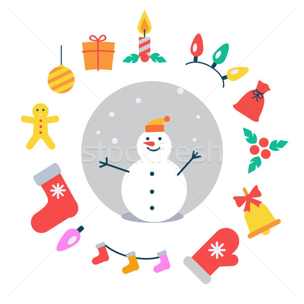 Snowman and Icons Around It Vector Illustration Stock photo © robuart