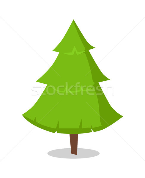 Green Bushy Christmas Tree Icon Isolated on White Stock photo © robuart