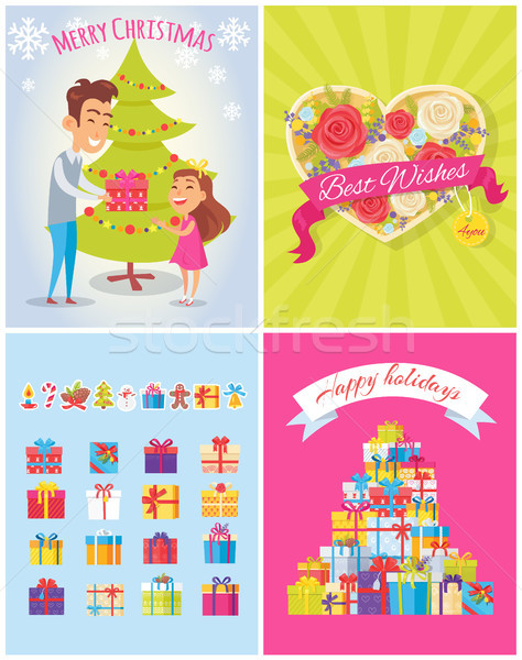 Best Wishes Merry Christmas Vector Illustration Stock photo © robuart