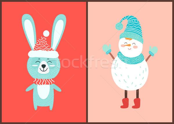 счастливым заяц белый снеговик иконки изолированный Сток-фото © robuart