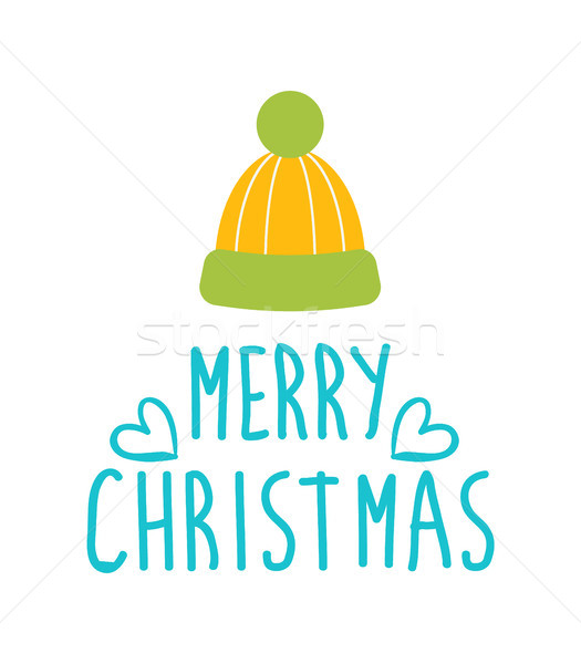 Merry Christmas Greetings with Warm Woolen Hat Stock photo © robuart