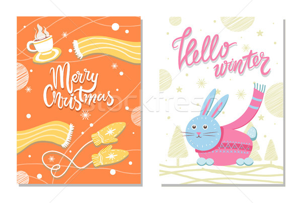 Hello Winter Postcard with Rabbit Scarf Mittens Stock photo © robuart