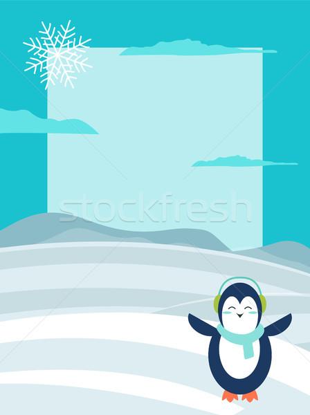 Stock photo: Winter Theme Bright Postcard with Happy Penguin