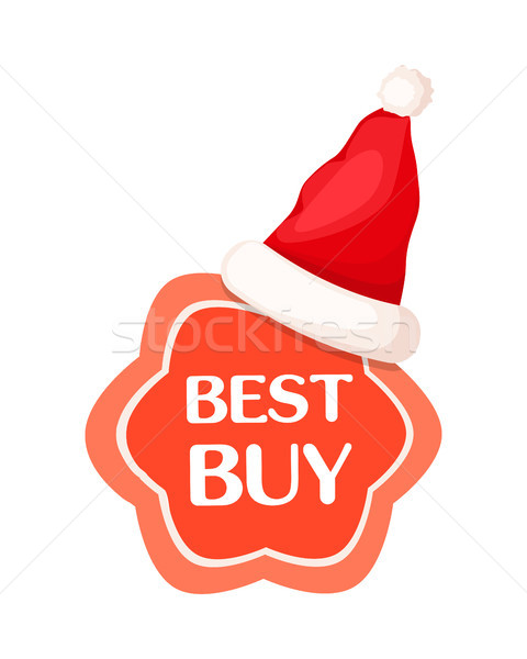 Best Buy Discount Label with Santa Claus Hat. Stock photo © robuart