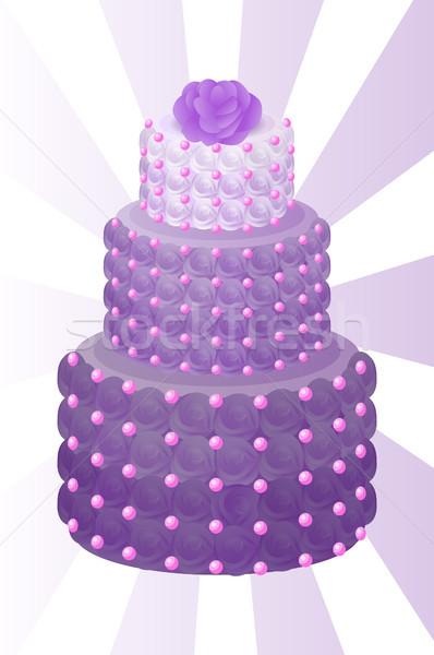 Cake paars kleur steeg bruidstaart rozen Stockfoto © robuart