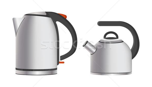 Foto stock: Moderna · brillante · metal · eléctrica · simple · aparatos · de · cocina