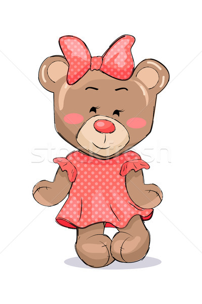 Fluffy Bear Female Animal in Pink Dotted Dress Bow Stock photo © robuart