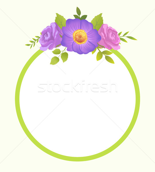 Round Border Blooming Springtime Flowers Vector Stock photo © robuart