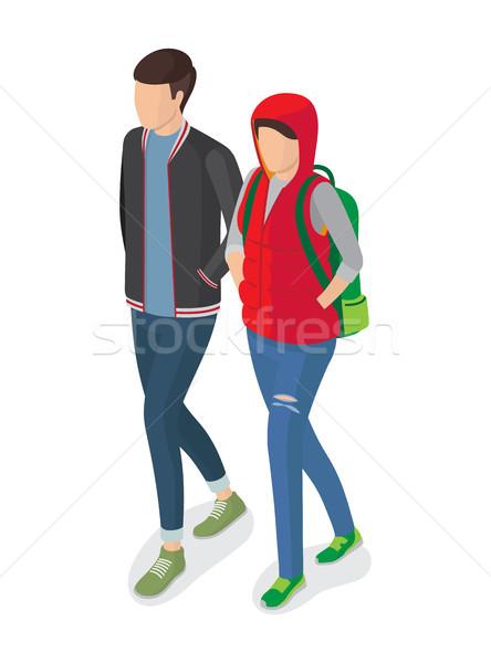 Mujer hombre estudiantes moderna vector rojo Foto stock © robuart