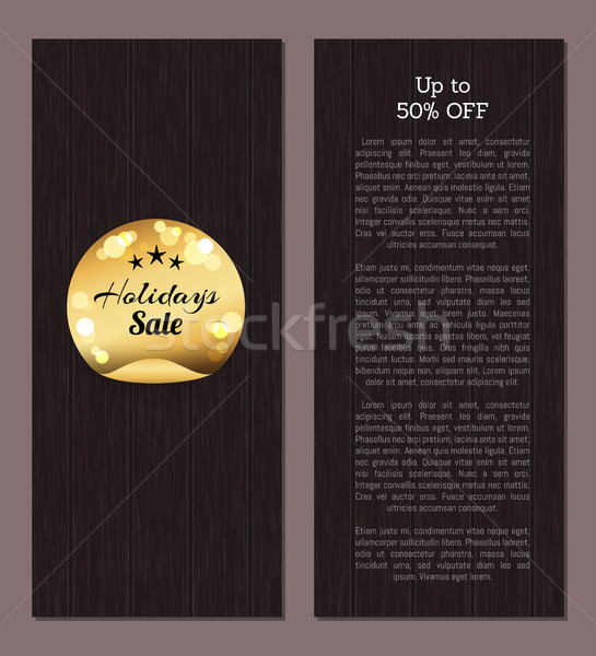 Up to 50 Off Holidays Sale Golden Sticker Round Stock photo © robuart