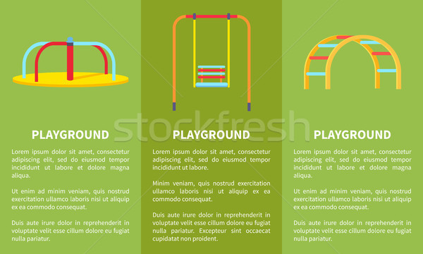 Playground Colorful Set of Posters Vector Illustration Stock photo © robuart