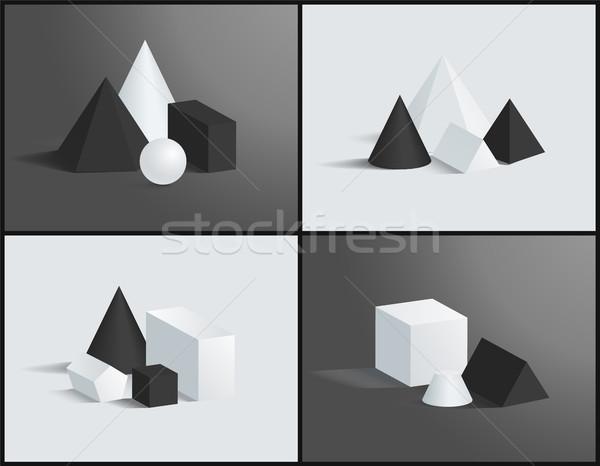 геометрический цвета черно белые квадратный пирамидами куб Сток-фото © robuart
